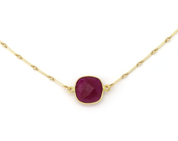 Suspended Raw Ruby Necklace