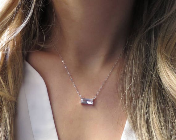 Silver Emerald Cut Diamond Necklace