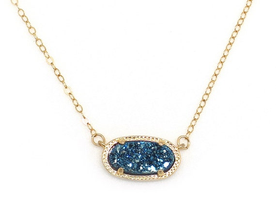 Navy Druzy Oval Necklace