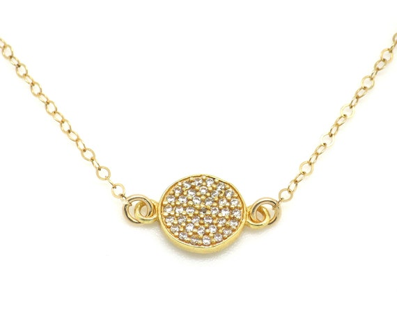 Gold Pave CZ Coin Necklace