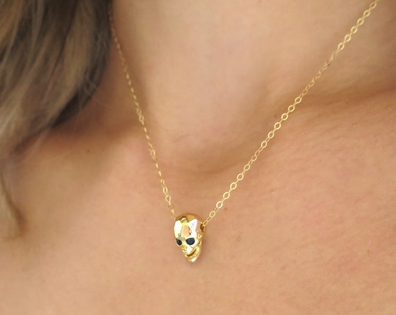 Gold Skull Necklace with CZ Eyes