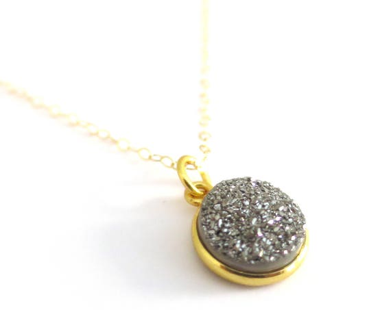 Gray Druzy Pendant Necklace