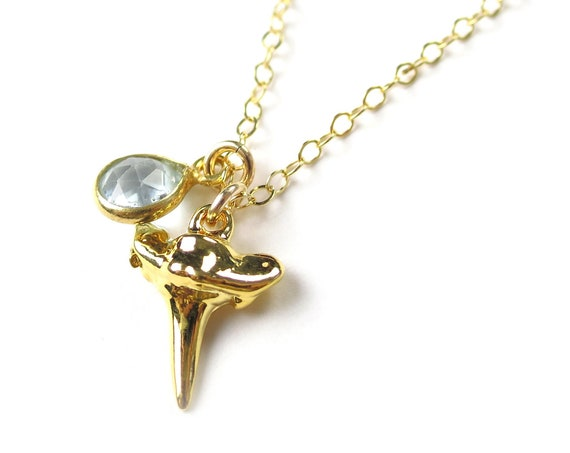 Shark Tooth & Aquamarine Necklace