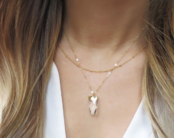 Gold Crystal Point Necklace