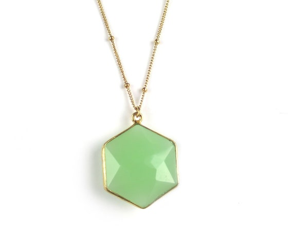Light Green Hexagon Necklace