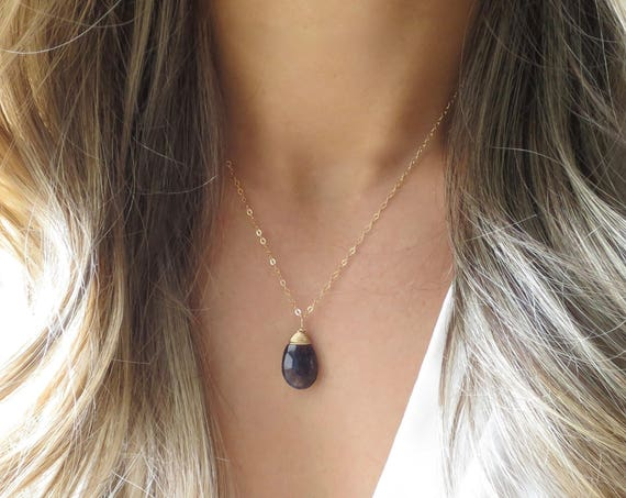 Sapphire Labradorite Teardrop Necklace