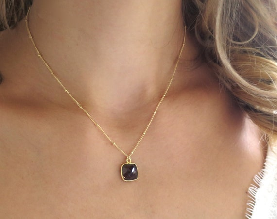 Gold Smoky Topaz Necklace