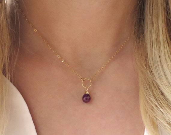 Small Dainty Ruby Necklace