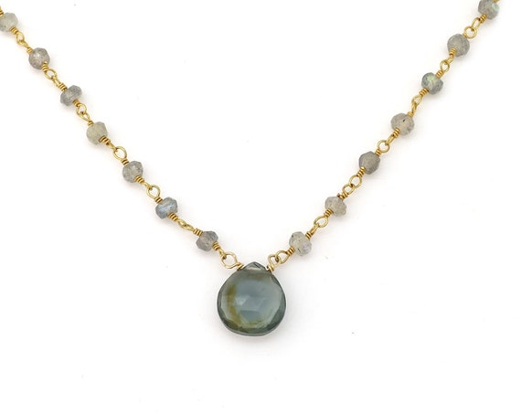 Gray Quartz & Labradorite Necklace
