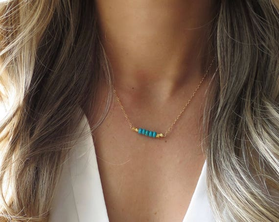 Small Turquoise Bar Necklace