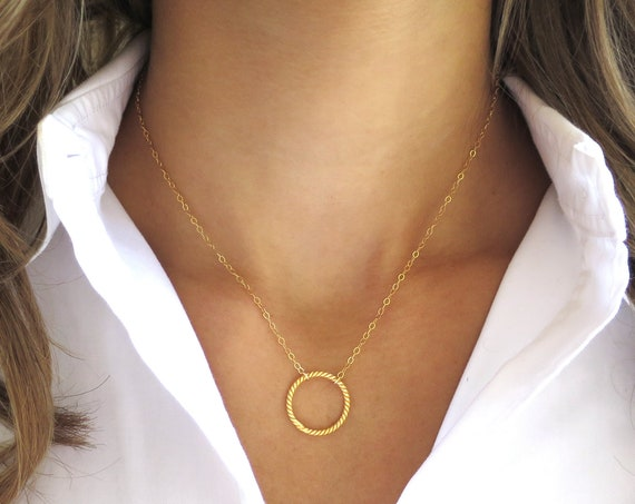 Twisted Gold Circle Necklace