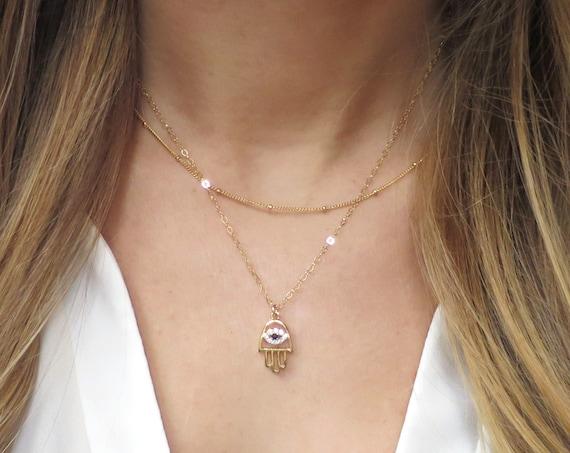 Gold Pave Hamsa Necklace
