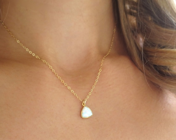 Small Triangle Opal Necklace