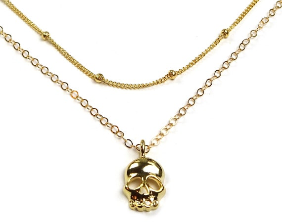 Gold Skull Necklace, Small Skull Jewelry, Skull Pendant, Gold Filled Chain, Jolly Roger, Pirate Necklace, Pirate Jewelry, Dainty Skull