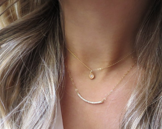 CZ Bar Layer Necklace