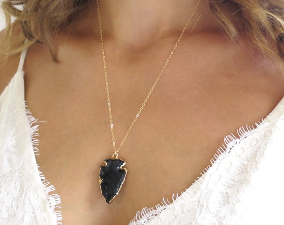 Onyx Arrowhead Necklace
