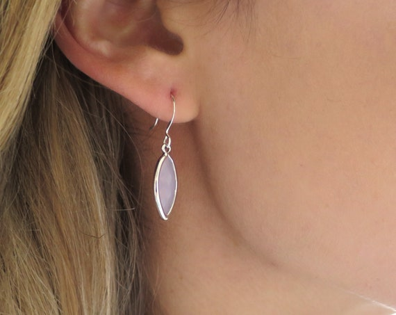 Dainty Pink Silver Earrings
