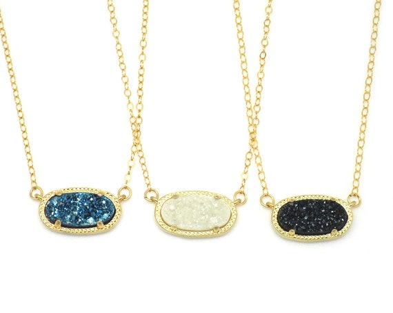 Druzy Oval Necklace
