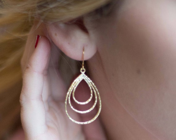 Hammered Gold Multiple Hoop Earrings