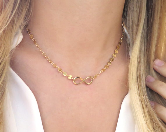 Gold Infinity Necklace on Coin Chain