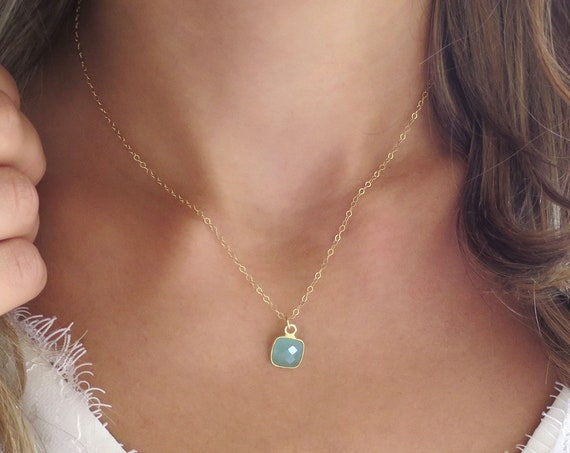 Small Aqua Chalcedony Necklace