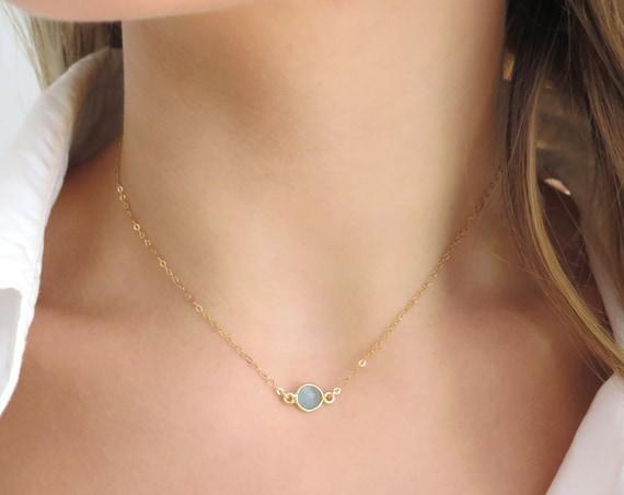Dainty Aqua Chalcedony Choker Necklace