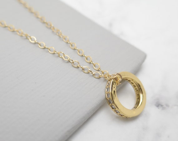 Gold Bezel CZ Ring Necklace