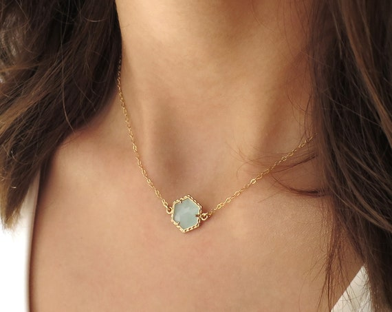 Mint Hexagon Necklace