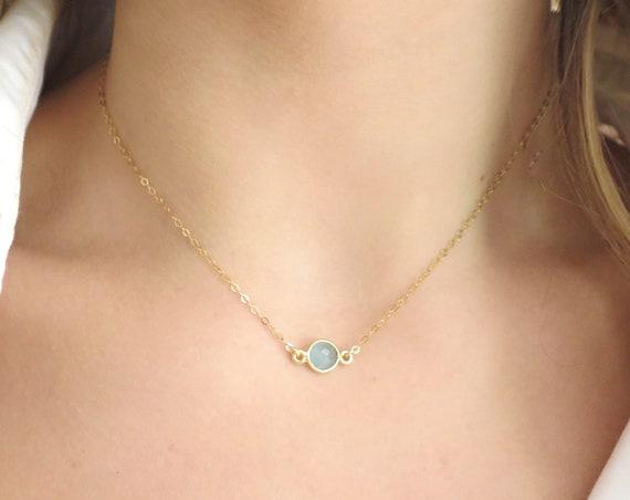 Floating Aqua Chalcedony Necklace