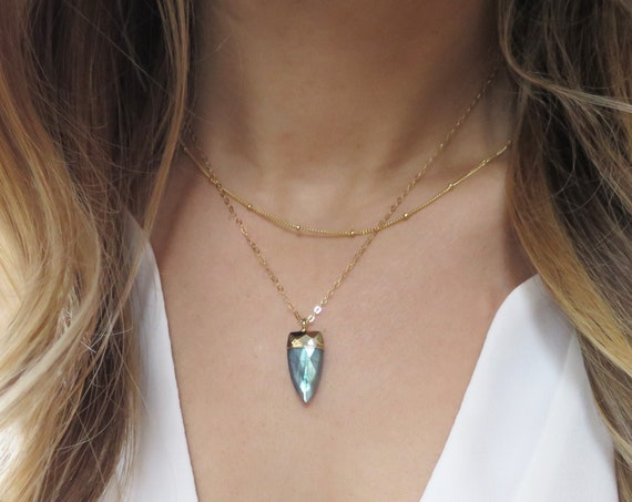Blue Labradorite Spike Necklace