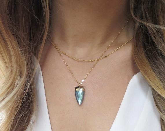 Blue Labradorite Spike Necklace