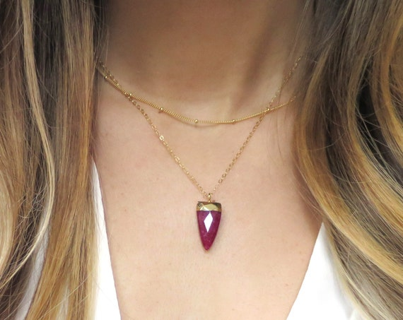 Dainty Ruby Layer Necklace