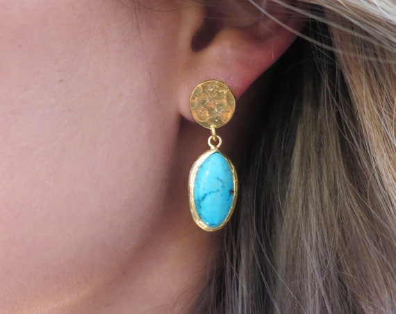 Turquoise & Hammered Gold Earrings