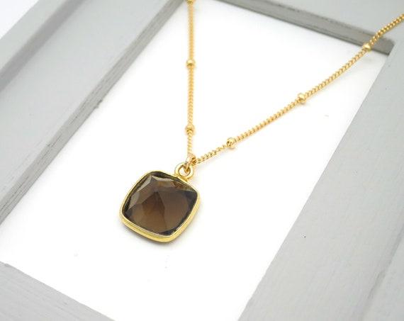 Gold Smoky Topaz Necklace