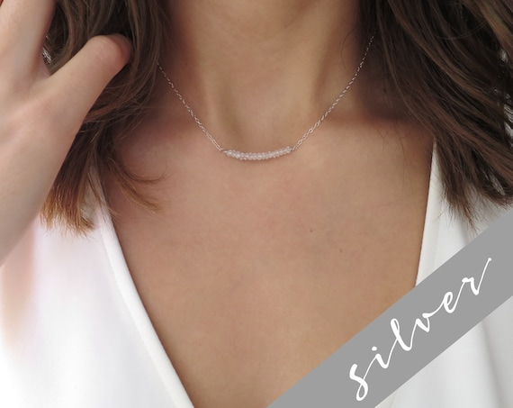Silver Moonstone Bar Necklace