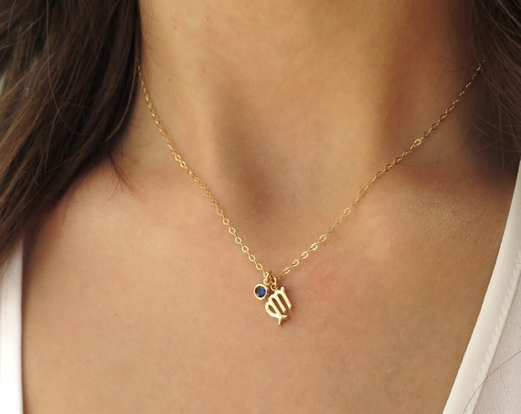 Gold Zodiac & Birthstone Necklace