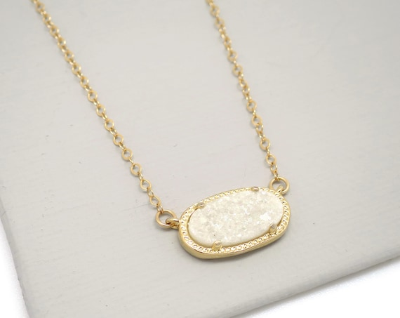 White Druzy Oval Necklace