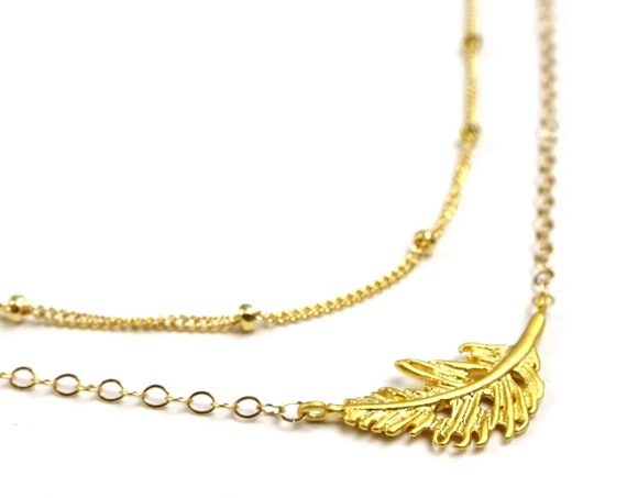 Layered Feather Necklace