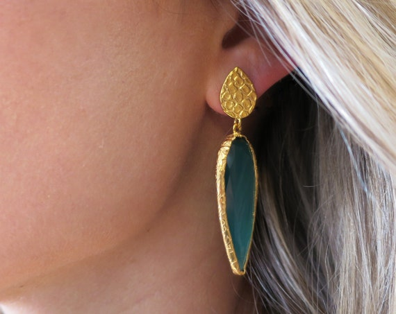 Emerald Green Quartz Earrings