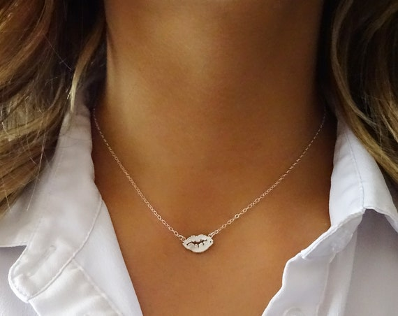 Silver Lips Necklace