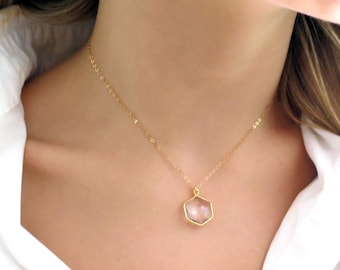 Clear Crystal Necklace Gold Filled, Gold Hexagon Crystal Pendant, Dainty Hexagon Necklace, Hexagon Pendant, Crystal Jewelry Gold Dainty