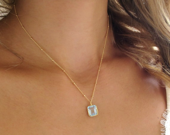 Rectangle Aquamarine Necklace