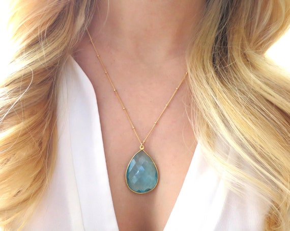 Blue Quartz Teardrop Necklace on Gold Filled Satellite Chain