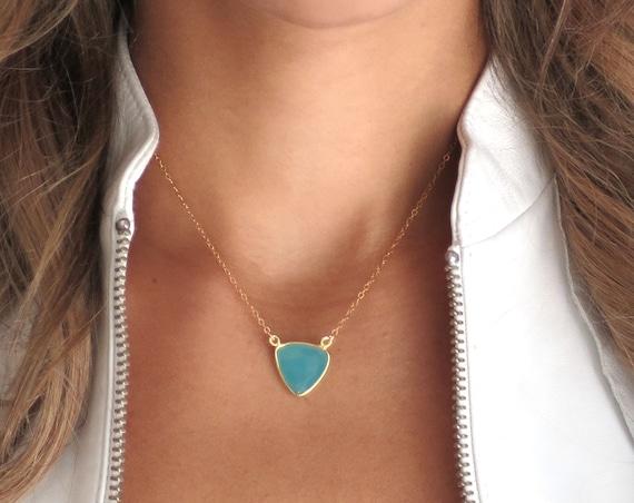 Aqua Chalcedony Trilliant Necklace