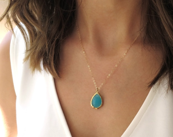 Dainty Aqua Glass Necklace