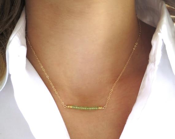 Peridot Bar Necklace