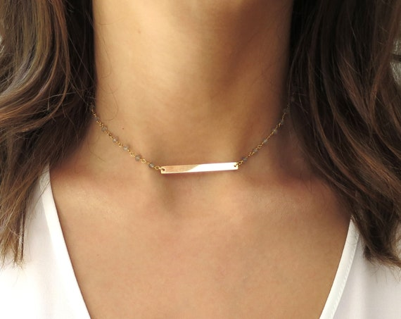14k Gold Bar Necklace on Labradorite Chain