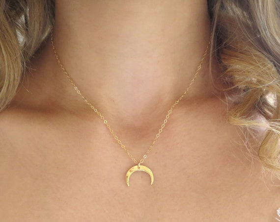Hammered Gold Horn Necklace