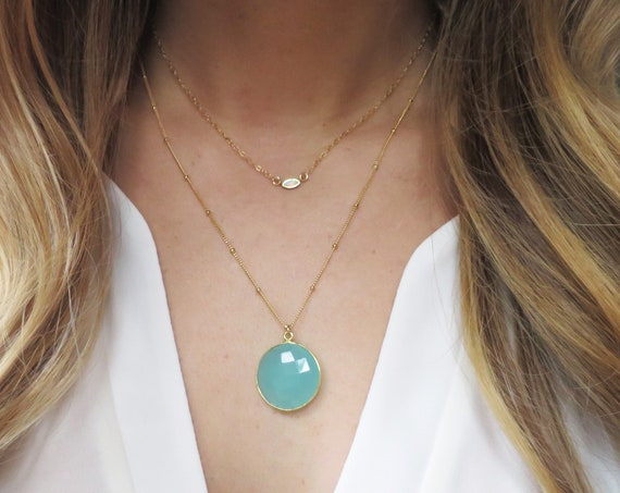Layered Opal & Aqua Chalcedony Necklace
