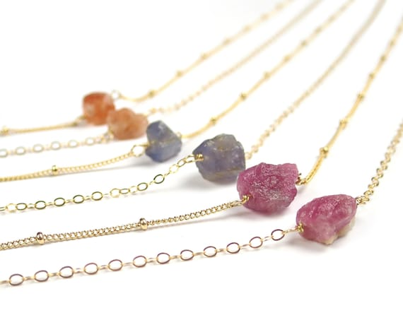 Raw Citrine, Ruby or Gray Quartz Necklace